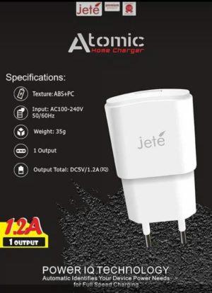 Adaptor Charger Jete Atomic Real 1,2A ( garansi distributor 1 tahun )
