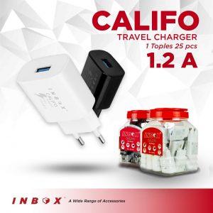 Adaptor charger Inbox Califo Real 1,2A (1Toples=25Pcs)