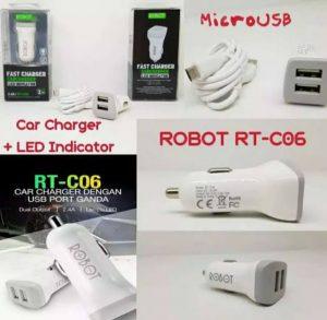 Saver / Charger Mobil Robot RT-C06 2,4A 2USB + Kabel USB