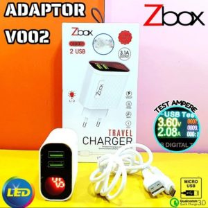Charger Zbox 3A (Support Fast Charging) -Battery Monitoring -Strong Protection -Stable Current -Output LED Display 2 USB