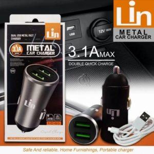 Saver Lin LC-05 3A 2USB (Bahan Metal) + Kabel USB