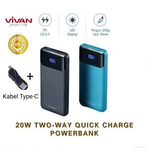 Powerbank Slim Vivan VPB-X10 10.000mah Digital (Real Capacity)