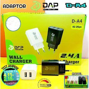 Adaptor DAP D-A4 2,4A 2USB (1Box=25pcs)...