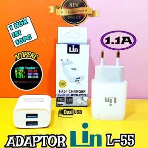 Adaptor Lin L-55 1,1A 2USB (1Box=10pcs)
